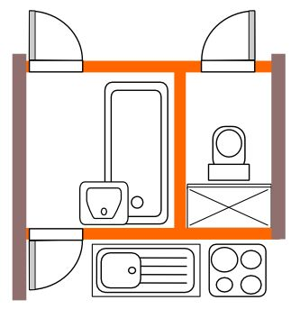 Bytové jádro typu H průchozí koupelna