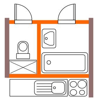 rekonstrukce koupelny / Bytové jádro typu H