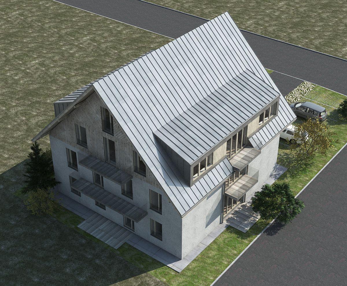 Vizualizace - pohled shora na dům