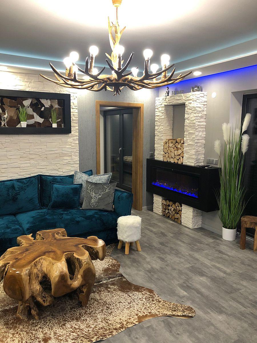Luxusní byt 3kk na Božím Daru - obývací pokoj s krbem